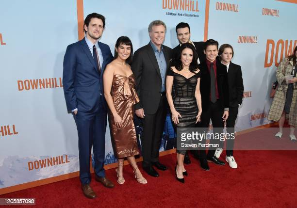Zach Woods Zoe Chao Julia LouisDreyfus Will Ferrell Giulio Berruti Ammon Jacob Ford and Julian Grey attend the premiere of Downhill at SVA Theater on...