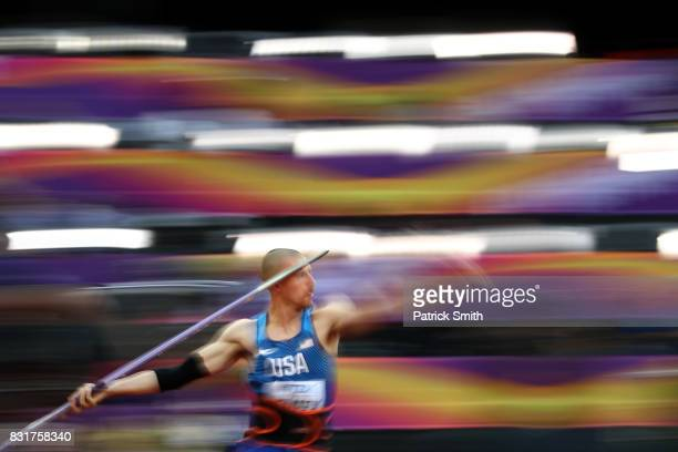 Zach Ziemek of the United States competes in the Men's Decathlon Javelin during day nine of the 16th IAAF World Athletics Championships London 2017...