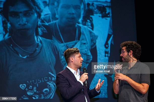 Zacharie Rabehi Photographer of the Year 2016 during an interview after he won the prize during the award ceremony of the EyeEm photofestival at...