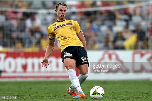 Zachary Anderson of the Mariners controls the ball during the round 15 ALeague match between the Central Coast Mariners and Melbourne City FC at...