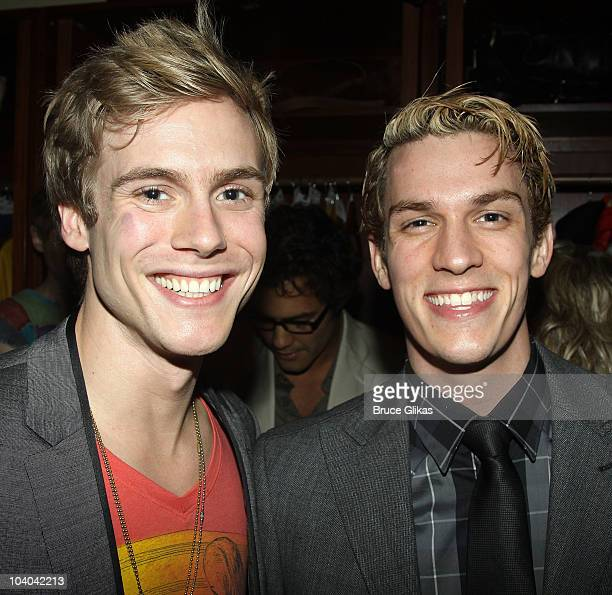 Zachary Booth and Preston Sadleir pose at the Opening Night Afterparty for Edward Albee's Me Myself I at The West Bank Cafe on September 12 2010 in...