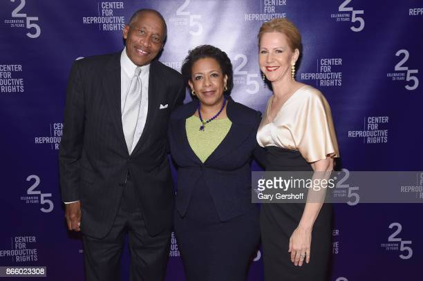Zachary Carter Loretta Lynch and Nancy Northup attend The Center For Reproductive Rights Hosts 25th Anniversary Celebration on October 24 2017 in New...
