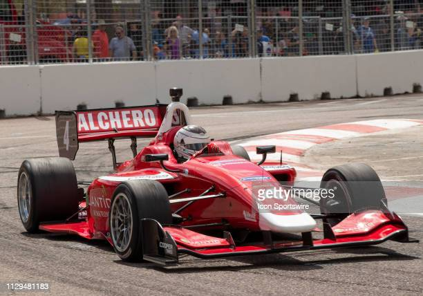 Zachary Claman Wins race1 during the Indy Lights Race of St Petersburg on March 9 at the Streets of St Petersburg in St Petersburg FL