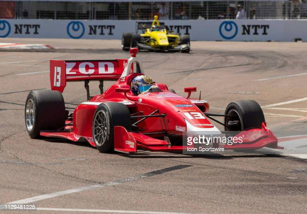 Zachary Claman Wins race1 with Toby Sowery close behind in 2nd place during the Indy Lights Race of St Petersburg on March 9 at the Streets of St...