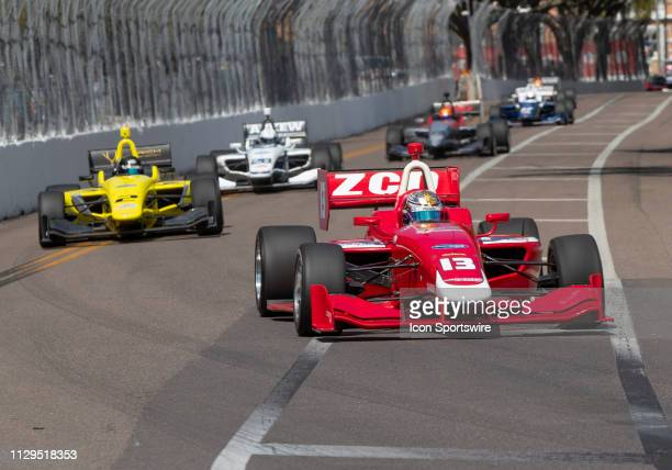 Zachary Claman Wins race1 with Toby Sowery close behind in 2nd place during the start of the Indy Lights Race of St Petersburg on March 9 in St...