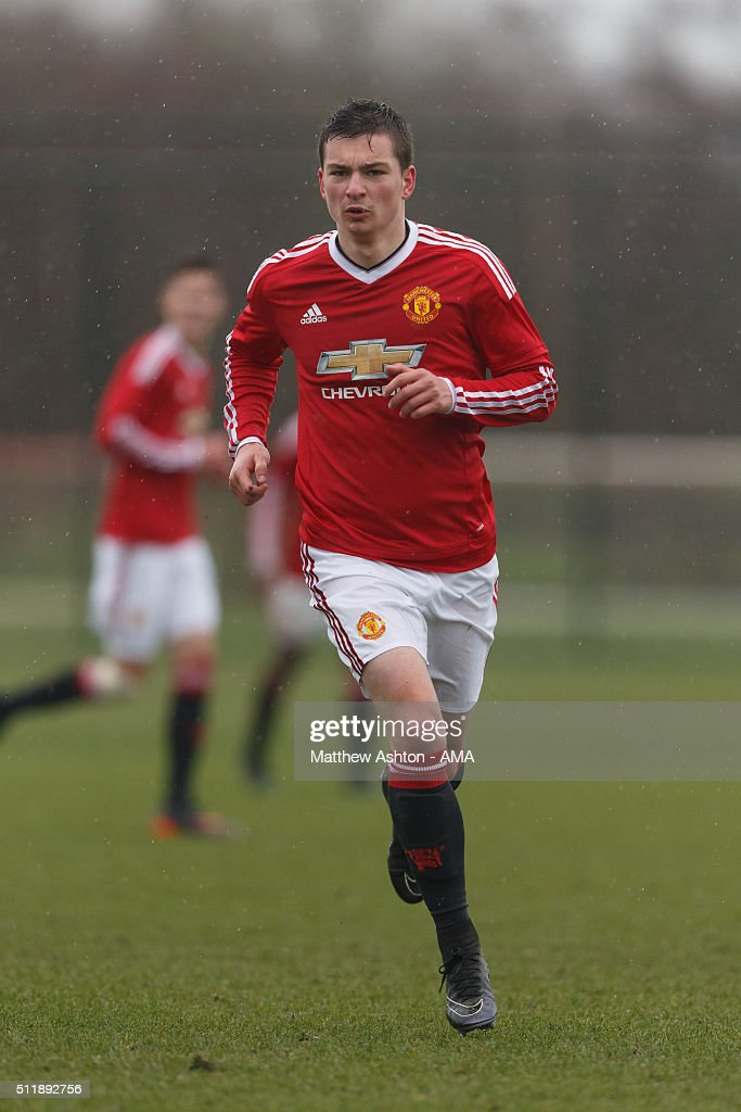 Zachary Dearnley of Manchester United U18 during the U18 Premier League match between Manchester United and West Bromwich Albion at Aon Training Complex on February 20, 2016 in Manchester, England.