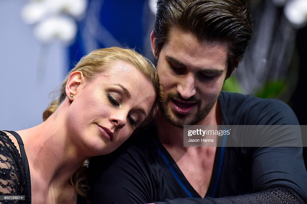 Zachary Donahue and Madison Hubbell embrace after completing their short dance program on Day 2 at the 2017 US Figure Skating Championships on January 20, 2017 at the Sprint Center in Kansas City, Missouri.