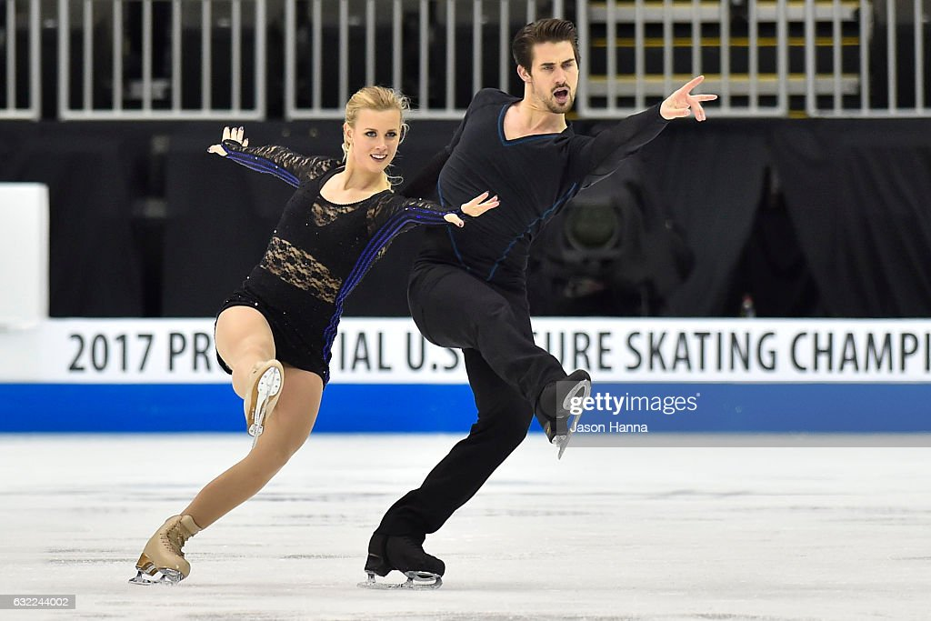 Zachary Donahue and Madison Hubbell skate during their short dance program on Day 2 at the 2017 US Figure Skating Championships on January 20, 2017 at the Sprint Center in Kansas City, Missouri.
