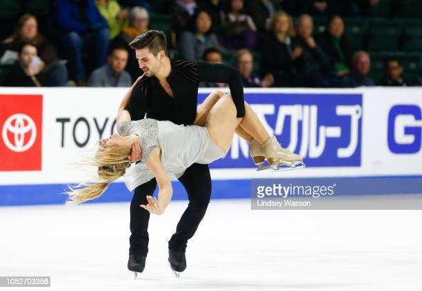Zachary Donohue and Madison Hubbell of the USA compete during Free Dance on day three of the 2018 ISU Grand Prix of Figure Skating Skate America at...