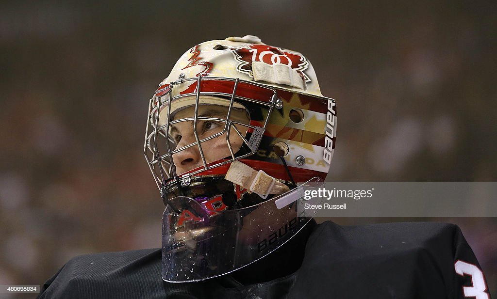 Team Canada plays Team Russia in a 2015 IIHF World Junior Championship exhibition game : News Photo
