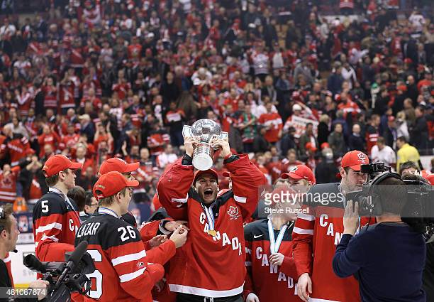 TORONTO ON JANUARY 5 Zachary Fucale lifts the cup as Team Canada beats Team Russia 54 to win the Gold Medal in the IIHF World Junior Hockey...