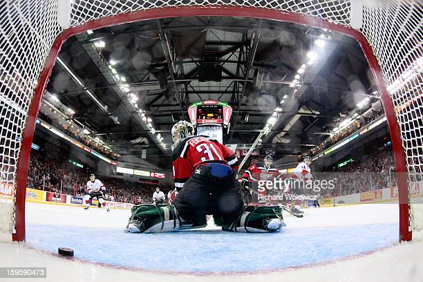 Zachary Fucale of Team Cherry looks back as the puck crosses the line during the CHL Top Prospects game against Team Orr at the Halifax Metro Centre...