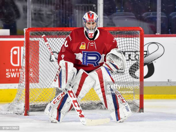 Zachary Fucale of the Laval Rocket gets into position during the warmup against the Belleville Senators prior to the AHL game at Place Bell on...