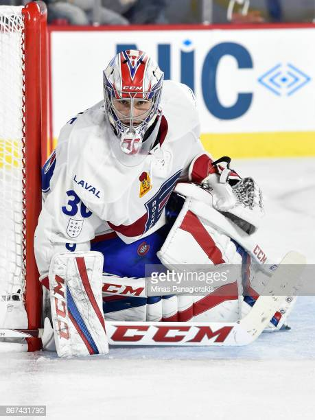 Zachary Fucale of the Laval Rocket protects his net against the Rochester Americans during the AHL game at Place Bell on October 25 2017 in Laval...