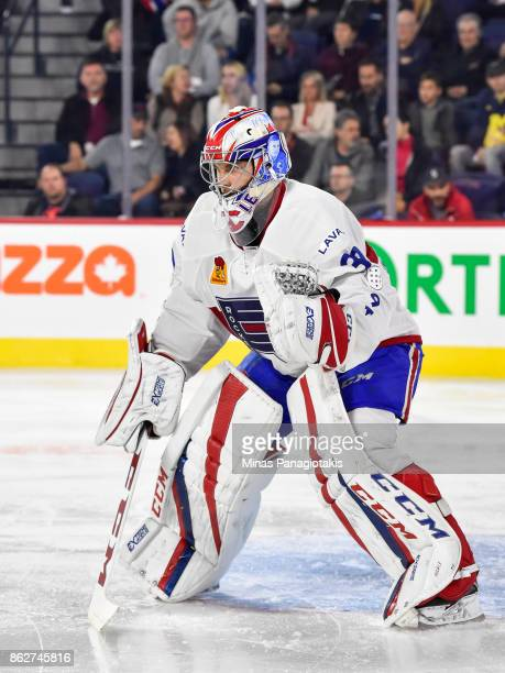 Zachary Fucale of the Laval Rocket remains focused against the Binghamton Devils during the AHL game at Place Bell on October 13 2017 in Laval Quebec...