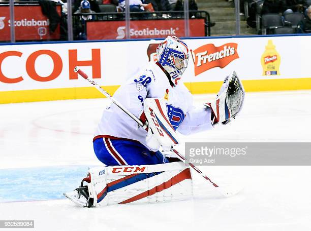 Zachary Fucale of the Laval Rocket skates against the Toronto Marlies during AHL game action on March 12 2018 at Air Canada Centre in Toronto Ontario...