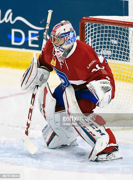 Zachary Fucale of the Laval Rocket skates in warmup prior to a game against the Toronto Marlies on October 28 2017 at Ricoh Coliseum in Toronto...