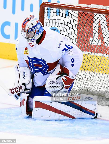 Zachary Fucale of the Laval Rocket skates in warmup prior to a game against the Toronto Marlies during AHL game action on March 12 2018 at Air Canada...