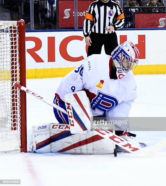Zachary Fucale of the Laval Rocket stops a shot against the Toronto Marlies during AHL game action on March 12 2018 at Air Canada Centre in Toronto...
