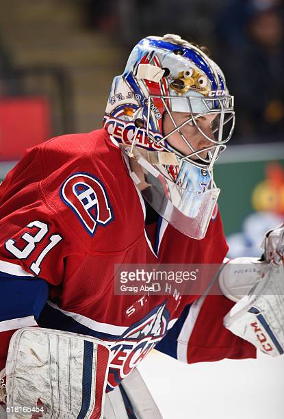 Zachary Fucale of the St John's IceCaps prepares for a shot against the Toronto Marlies during game action on March 26 2016 at Air Canada Centre in...
