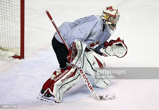 Zachary Fucale skates during the Canada National Junior Team practice at the Meridian Centre on December 18 2014 in St Catharines Ontario Canada