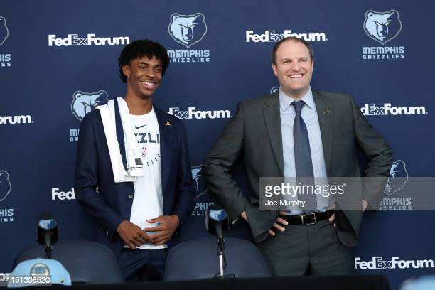 Zachary Kleim Ja Morant Taylor Jenkins poses for a photo at a press conference on June 21 2019 at FedExForum in Memphis Tennessee NOTE TO USER User...