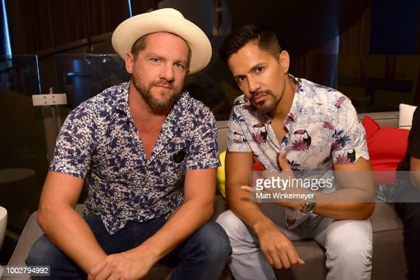 Zachary Knighton and Jay Hernandezl from CBS's 'Magnum PI' attend the Pizza Hut Lounge at 2018 ComicCon International San Diego at Andaz San Diego on...