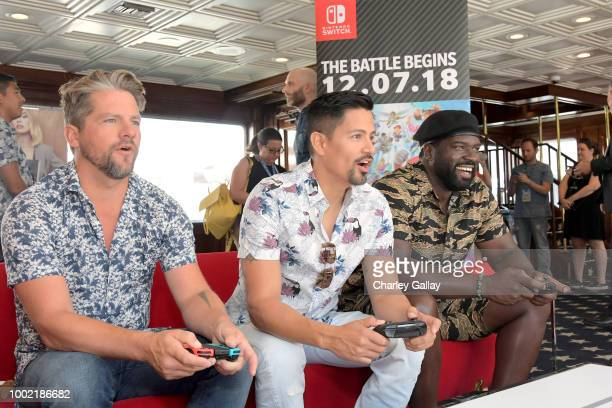 Zachary Knighton Jay Hernandez and Stephen Hill put their gaming skills to the test playing Mario Kart 8 Deluxe on Nintendo Switch at the Variety...