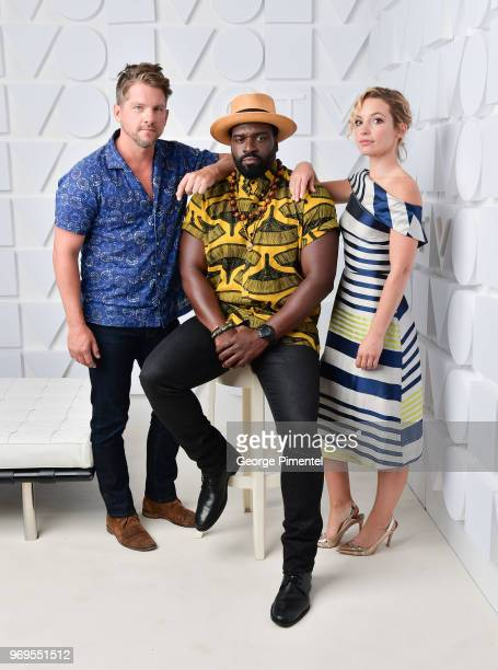 Zachary Knighton Perdita Weeks and Stephen Hill pose at the CTV Upfronts portrait studio held at the Sony Centre For Performing Arts on June 7 2018...