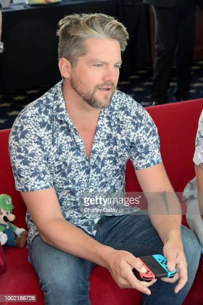 Zachary Knighton puts his gaming skills to the test playing Mario Kart 8 Deluxe on Nintendo Switch at the Variety Studio at ComicCon 2018 on July 19...