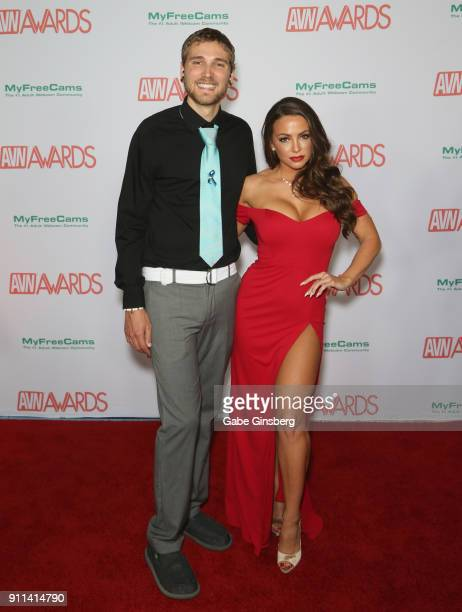 Zachary Kurtz and adult film actress Abigail Mac attend the 2018 Adult Video News Awards at the Hard Rock Hotel Casino on January 27 2018 in Las...