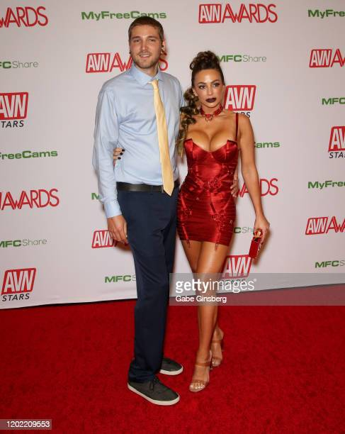 Zachary Kurtz and adult film actress Abigail Mac attend the 2020 Adult Video News Awards at The Joint inside the Hard Rock Hotel Casino on January 25...