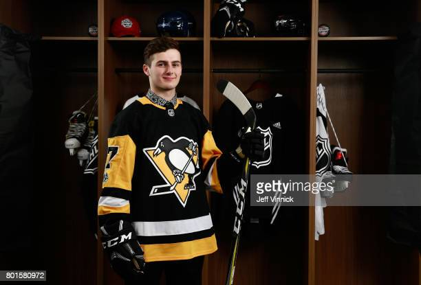 Zachary Lauzon 51st overall pick of the Pittsburgh Penguins poses for a portrait during the 2017 NHL Draft at United Center on June 24 2017 in...