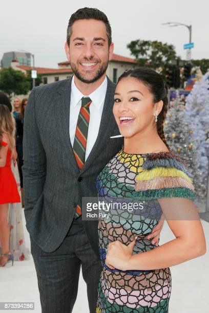 Zachary Levi and Gina Rodriguez attend the premiere of Columbia Pictures' 'The Star' at Regency Village Theatre on November 12 2017 in Westwood...