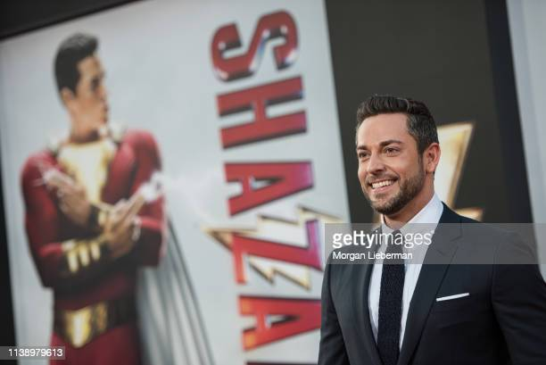 Zachary Levi arrives at Warner Bros Pictures and New Line Cinema's world premiere of SHAZAM at TCL Chinese Theatre on March 28 2019 in Hollywood...