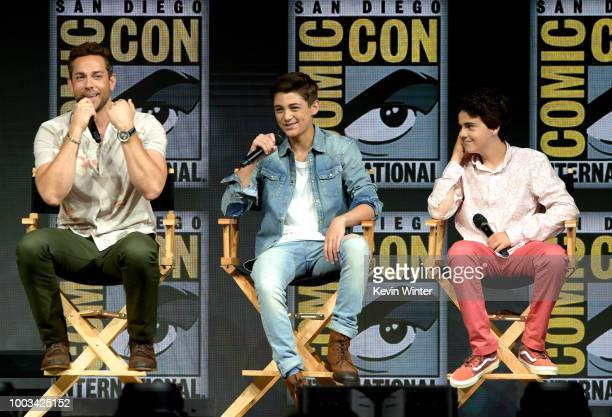 Zachary Levi, Asher Angel and Jack Dylan Grazer speak onstage at the Warner Bros. Theatrical panel during Comic-Con International 2018 at San Diego...