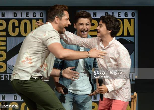 Zachary Levi Asher Angel and Jack Dylan Grazer speak onstage at the Warner Bros 'Shazam' theatrical panel during ComicCon International 2018 at San...