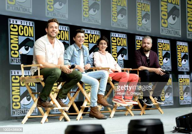 Zachary Levi Asher Angel Jack Dylan Grazer and David Sandberg speak onstage at the Warner Bros 'Shazam' theatrical panel during ComicCon...