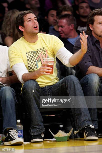 Zachary Levi attends the Los Angeles Lakers vs Houston Rockets game at Staples Center on April 3 2009 in Los Angeles California