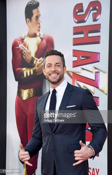 Zachary Levi attends Warner Bros Pictures And New Line Cinema's World Premiere Of SHAZAM at TCL Chinese Theatre on March 28 2019 in Hollywood...