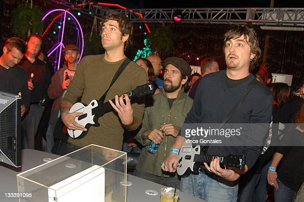 Zachary Levi Joshua Gomez and Guest attend Guitar Hero III Halloween launch party at Best Buy