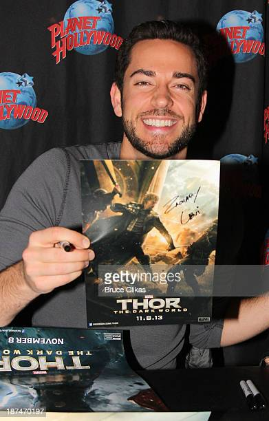 """Zachary Levi promotes """"Thor: The Dark World"""" at Planet Hollywood Times Square on November 8, 2013 in New York City."""