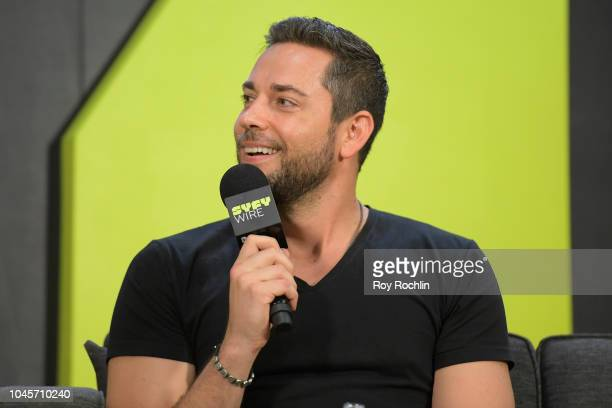 Zachary Levi speaks onstage at Zachary Levi Talks Shazam during New York Comic Con 2018 at Javits Center on October 4 2018 in New York City