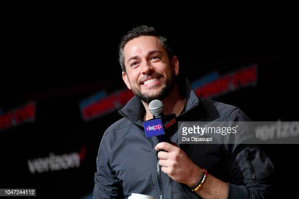Zachary Levi speaks onstage during An Hour with Zachary Levi at New York Comic Con at Jacobs Javits Center on October 7 2018 in New York City