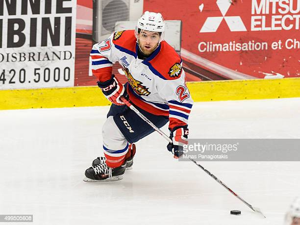Zachary Malatesta of the Moncton Wildcats looks to play the puck during the QMJHL game against the Blainville-Boisbriand Armada at the Centre...