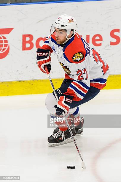 Zachary Malatesta of the Moncton Wildcats skates with the puck during the QMJHL game against the Blainville-Boisbriand Armada at the Centre...