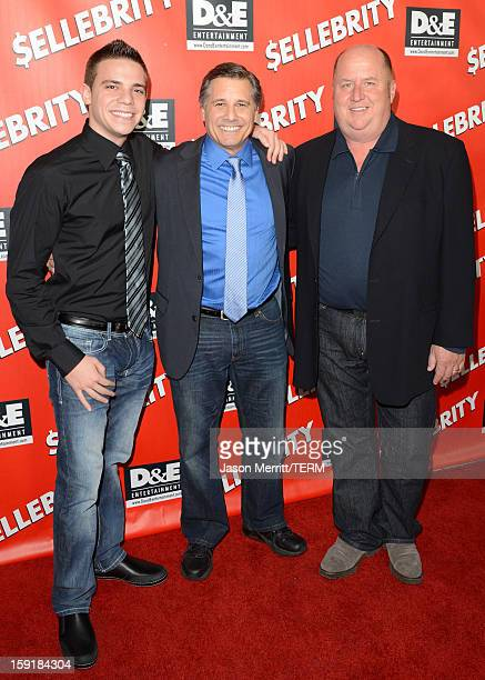 Zachary Mazur director Kevin Mazur and actor Pat Asanti arrive at the premiere of '$ellebrity' at Mann's 6 Theatre on January 8 2013 in Hollywood...