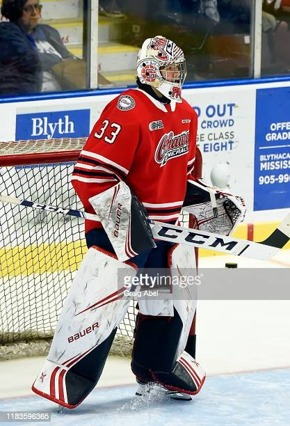 Zachary Paputsakis of the Oshawa Generals skates in warmup prior to a game against the Mississauga Steelheads on October 25, 2019 at Paramount Fine...