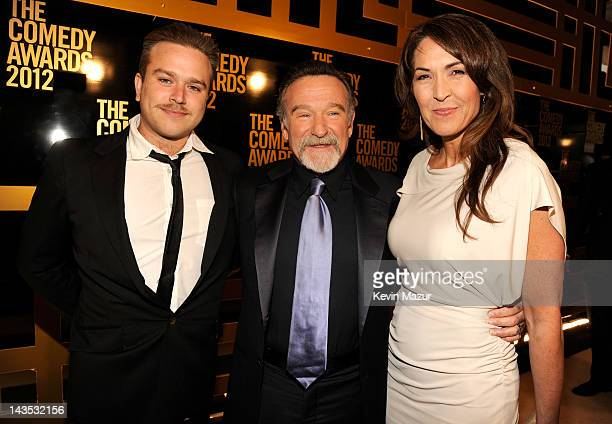 Zachary Pym Williams Robin Williams and Susan Schneider attend The Comedy Awards 2012 at Hammerstein Ballroom on April 28 2012 in New York City