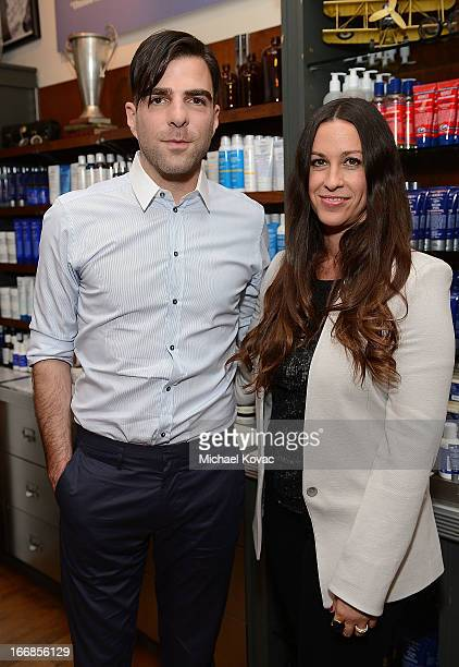 Zachary Quinto and Alanis Morissette attend Kiehl's Launches Environmental Partnership Benefiting Recycle Across America at Kiehl's Since 1851 Santa...
